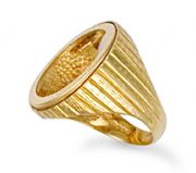9ct Gold engraved Full Sovereign blank coin ring 8.6g